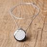 Lot 12 x Grand medaillon Argent, chaine argent 70cm / 3 pads fournis (blanc:jaune:noir) sachet