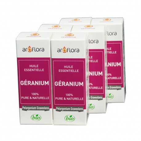 lot de 6 huiles essentielles bio 6x10 ml Géranium
