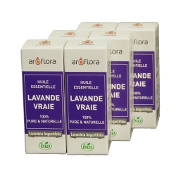 lote de 6 unidades Aceite esencial orgánico de lavanda común 100 % pura y natural, 10 ml